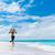 lány · fehér · bikini · sétál · tengerpart · szalmakalap - stock fotó © maridav