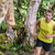 trail running man athlete runner in forest nature stock photo © maridav