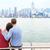 hong kong skyline and victoria harbour   couple stock photo © maridav