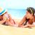 boldog · férfi · vakáció · készít · vicces · arc · tengerpart - stock fotó © maridav