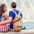 amerikaanse · jonge · vrouw · fontein · gepeupel · glimlach · mode - stockfoto © maridav