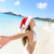 Christmas Santa hat bikini woman on beach vacation stock photo © Maridav