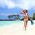 gelukkig · snorkel · vrouw · strand · vakantie - stockfoto © maridav
