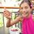 acai bowl   woman eating healthy food happy stock photo © maridav