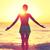 yoga · femeie · senin · apus · plajă · pune - imagine de stoc © maridav