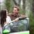 car people   happy couple driving on road trip stock photo © maridav