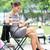 jonge · zakenvrouw · koffiepauze · stad · park · drinken - stockfoto © maridav