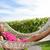 lächelnd · junge · Mädchen · ruhend · Hängematte · Stadt · Park - stock foto © maridav