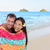 swimming romantic couple bathing towel on beach stock photo © maridav