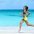 fitness runner woman beach running listening to music with phone sport armband stock photo © maridav