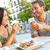 couple eating tapas drinking beer in madrid spain stock photo © maridav