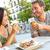 śmiechem · para · jedzenie · obiedzie · wraz · uśmiech - zdjęcia stock © maridav