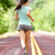 young lady working out running away on rural road stock photo © maridav