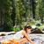 hiking woman drinking water in river in yosemite stock photo © maridav