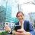 young business woman on smartphone in lunch break stock photo © maridav