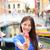 fagylalt · lány · izgatott · boldog · eszik · fagylalttölcsér - stock fotó © maridav