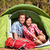 couple camping in tent happy in romance stock photo © maridav