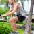 Fitness athlete bench jump squat jumping outside stock photo © Maridav