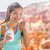 hiker sunscreen   woman hiking putting sunblock stock photo © maridav