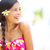 Beach woman happy looking to side laughing stock photo © Maridav
