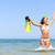 beach vacation woman excited and happy snorkeling stock photo © maridav