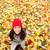 autumn fall leaves background with woman happy stock photo © maridav