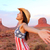 cowgirl   woman happy and free in monument valley stock photo © maridav