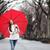 meisje · Rood · paraplu · lopen · park · vallen - stockfoto © maridav