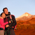 happy couple hiking enjoying looking at view stock photo © maridav