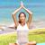 méditation · yoga · femme · plage · méditer · océan - photo stock © maridav
