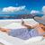 heureux · touristiques · femme · santorin · île · Grèce - photo stock © maridav