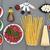 collage · salade · pâtes · saumon · asperges - photo stock © marilyna