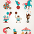 vintage huge circus collection with carnival fun fair vector icons and background stock photo © marish