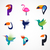 tropical birds   set of vector icons stock photo © marish