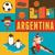 Argentína · zászló · szett · futballabda · sport · futball - stock fotó © marish
