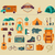 camping · família · caravana · ícone · botão - foto stock © marish