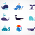 collection of vector whale icons stock photo © marish