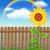 wooden fence on green grass with sunflower stock photo © marisha