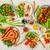 обеденный · стол · разнообразие · продовольствие · жареная · курица · крыльями - Сток-фото © markova64el