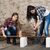 two long haired young woman with an angle grinder stock photo © maros_b