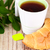 taza · té · frescos · croissant · mesa · de · madera · desayuno - foto stock © marylooo