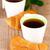 café · croissant · mesa · de · madeira · prato · copo - foto stock © marylooo