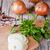 新鮮な · 玉葱 · パセリ · 木製 · 背景 · オレンジ - ストックフォト © marylooo