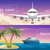vector travel banners set passenger airplane in the clouds ocean sea cruise liner in the islands stock photo © marysan