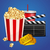 realistic cinema movie poster template with film clapper tickets popcorn and cola stock photo © marysan