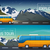 Vector travel banners set. Bus tour to Alps mountains, minibus in the wild, the company travelers stock photo © MarySan