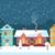 snowy christmas night in the cozy town panorama stock photo © marysan