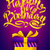 happy birthday poster   gold ribbon lettering and gift box on purple background stock photo © marysan