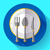 dishes   plate knife and fork icon flat vector design with long shadow stock photo © marysan