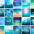 big set of 20 square blurred nature turquoise backgrounds with various quotes stock photo © marysan
